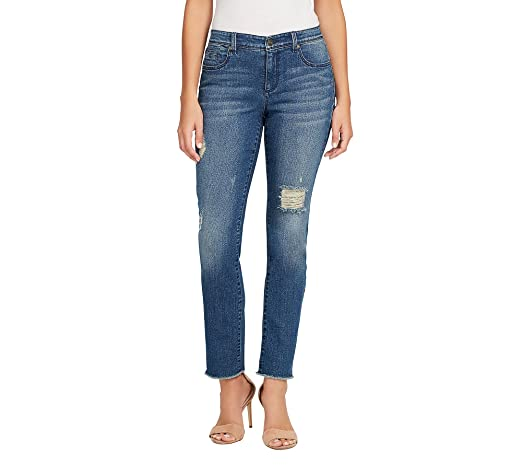 21161e12ad8 Bandolino Women s Millie Curvy Straight Leg Ankle Jean at Amazon Women s  Jeans store