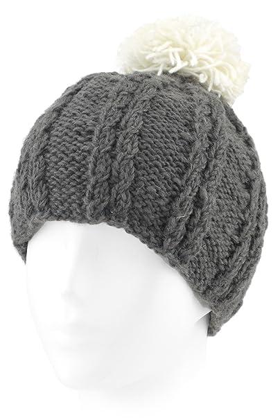 Evolatree Knit Wool Beanie Toque With Fleece Lining   Pom - Gray at ... fdc0b6237ba
