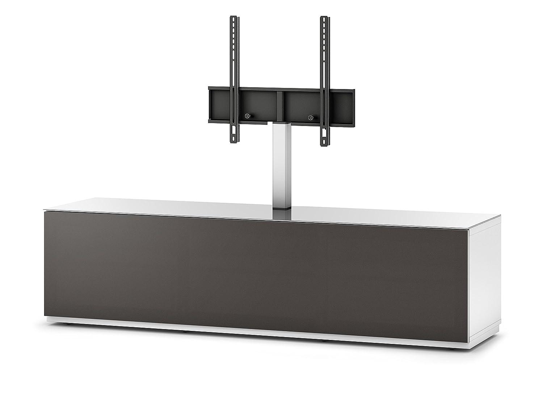 Sonorous STA 161T-WHT-OLV-BS stehende TV-Lowboard mit TV-Aufhängung, versteckten Rollen, weißer Korpus, obere Fläche, gehärtetem Weißglas und Klapptür mit olivfarbenem Akustikstoff