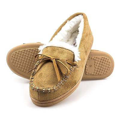 Amazon.com | ArcticShield Women's Memory Foam Indoor/Outdoor Durable Comfort Slip On Plush Fur Moccasin Slippers | Slippers