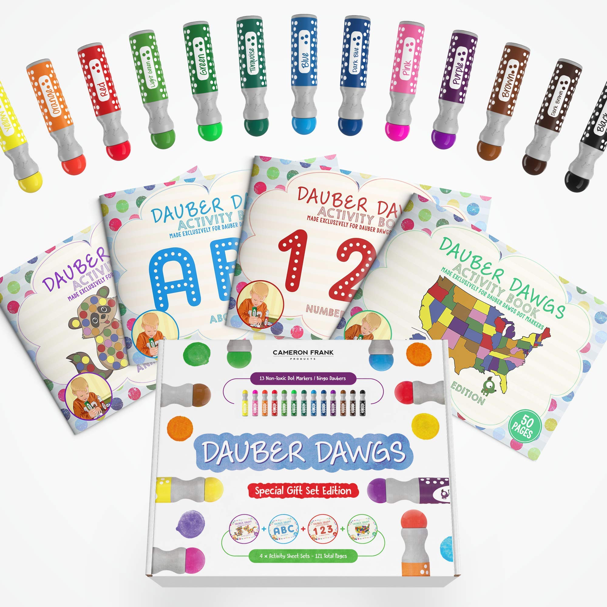 Washable Dot Markers 13 Pack With 121 Activity Sheets For Kids, Gift Set With Toddler Art Activities, Preschool Children Arts Crafts Supplies Kit, Special Holiday Bingo Dabbers Dobbers, Dauber Dawgs by Cameron Frank Products