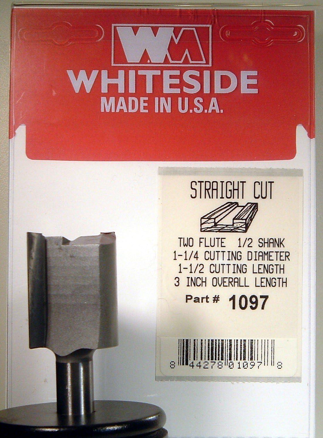WHITESIDE MACHINE #1096 CARBIDE-TIP 2 FLUTE STRAIGHT ROUTER BIT 1-1//8 DIA X 1-1//2 CL X 1//2 SHANK
