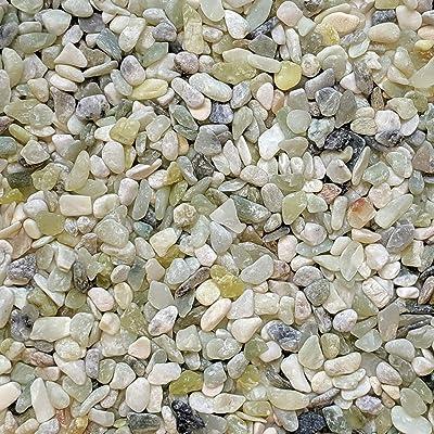 "Midwest Hearth Natural Decorative Jade Bean Pebbles 1/5"" Size (2-lb Bag) : Garden & Outdoor"