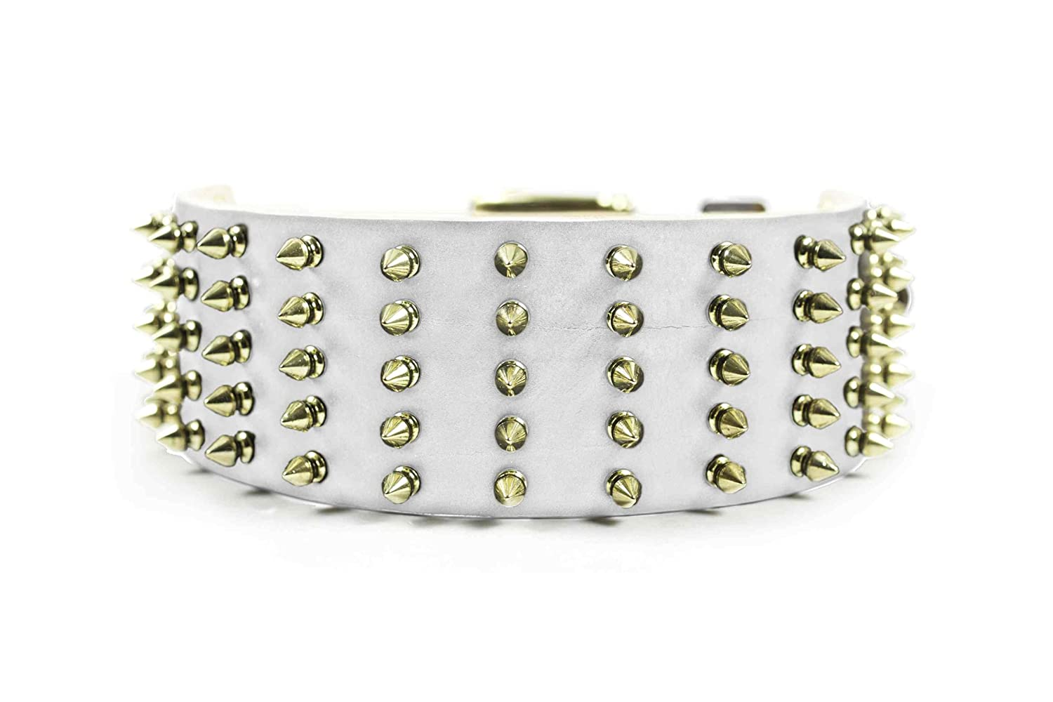 Dean & Tyler Leather Dog Collar  WIDE SPIKE  With Brass Spikes Size 20 Inch By 2 3 4 Inch Width White. Will Fit Neck Size 18 Inches to 22 Inches.