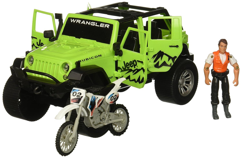 14.75 x 7 14.75 x 7 Tree House Kids Tree House Kids Jeep with Bike Play Set Jeep Bike Figure Neon Green Toys 5010-THK
