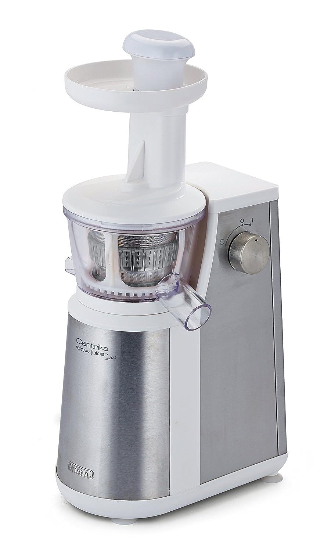 Ariete 177 Centrika Slow Juicer Metal Estrattore di Succo a Freddo, Succhi di Frutta e Verdura Freschi, Sistema di Estrazione Lenta, Bianco/Acciaio 00C017710AR0 00C017700AR0_