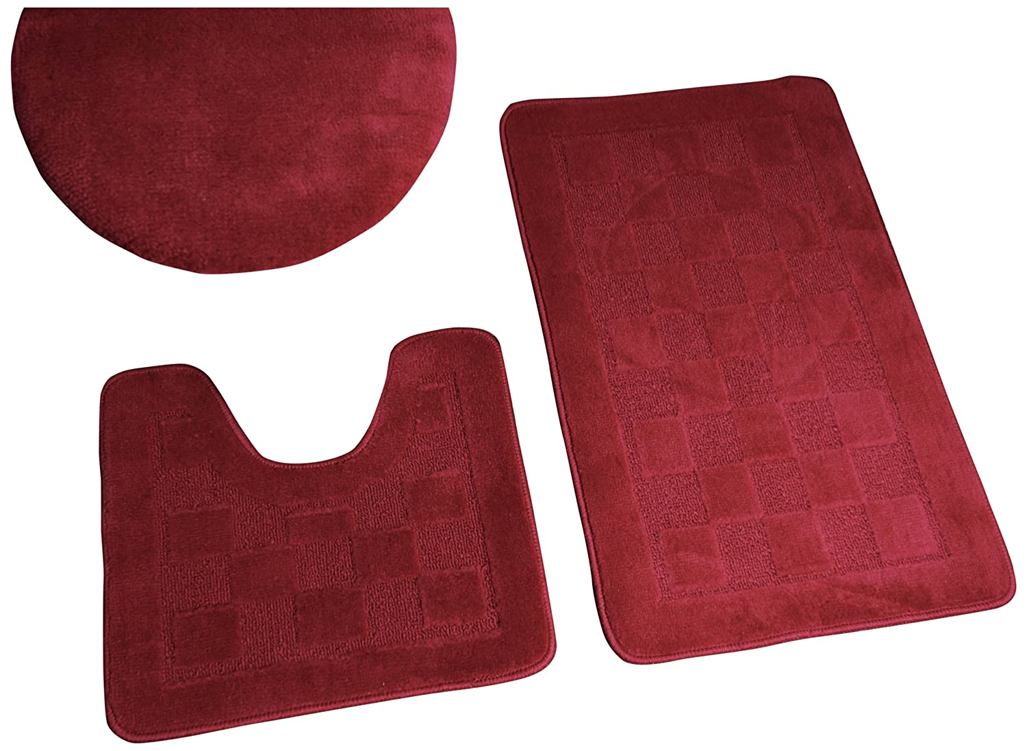 Bathroom rug set - Amazon Com Dainty Home 3 Piece Bath Set With Rug Contour Lid Cover Burgundy Home Kitchen