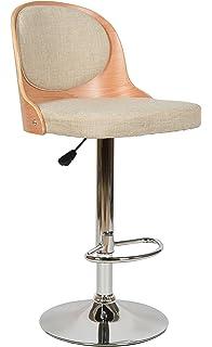 Ts Ideen 1x Design Club Barhocker Barstuhl Küchenstuhl Esszimmerstuhl  Drehbar Höhenverstellbar Sitz Beige Stoffbezug Gepolstert