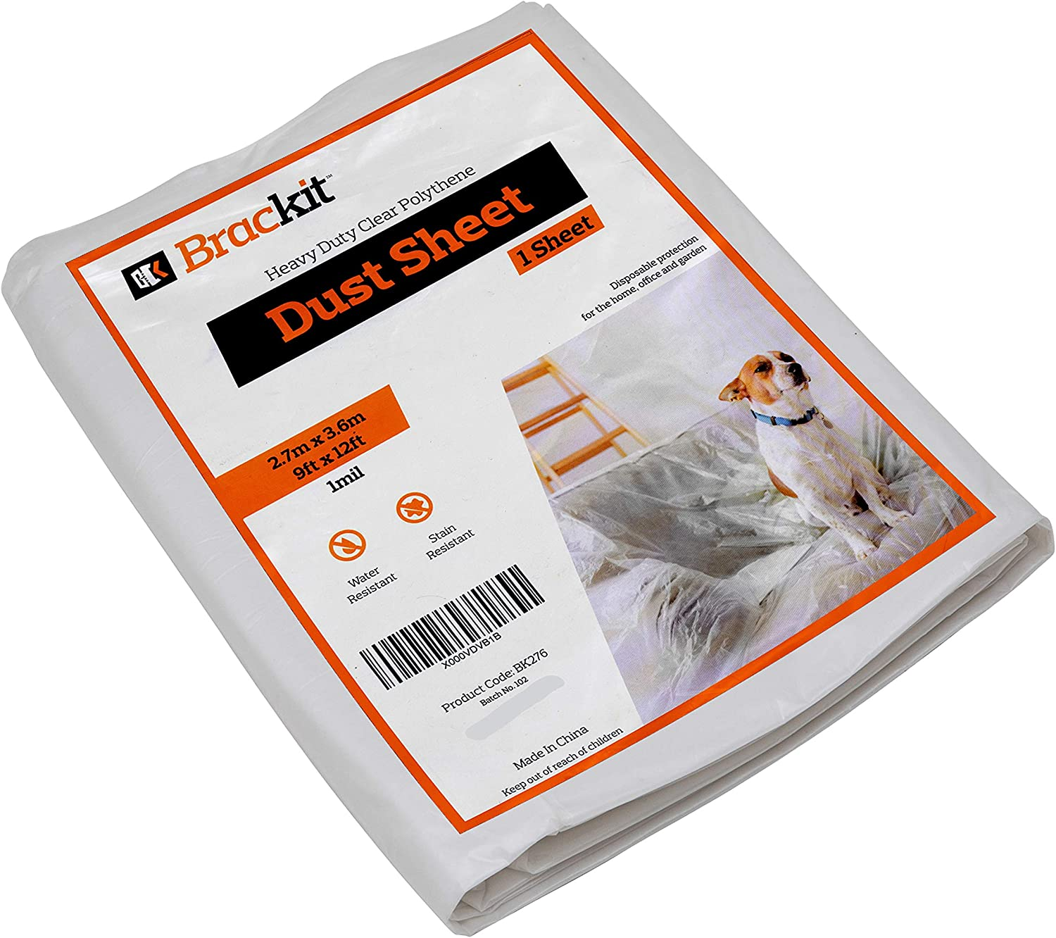 3.6x2.7m Lightweight Waterproof Brackit Dust Sheet, Durable Heavy Duty 1 Disposable Shield for Painti - Protective Furniture Cover 9 x 12ft