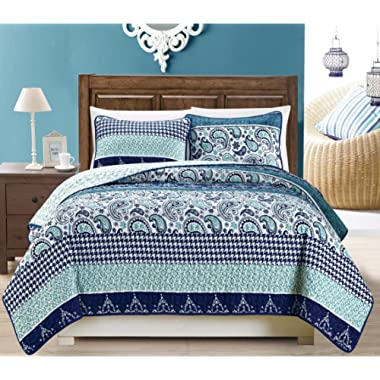 Grand Linen 3-Piece Fine Printed Oversize (115  X 95 ) Quilt Set Reversible Bedspread Coverlet King/Cal King Size Bed Cover (Navy Blue Paisley)