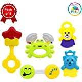 Smiles Creation Attractive Shaped and Bright Colours Rattle Set Toy (Pack of 5)