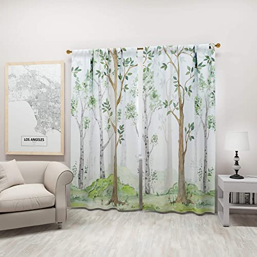 Factory4me Woodland Curtains Birch Tree White Grey Green and Brown Drapes   Forest Theme Pattern Design