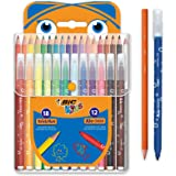 BIC Kids Colouring Set - 18 Assorted Coloured Pencils/12 Assorted Felt Tip Pens, Portable Case of 30 Colouring Pieces For Kids