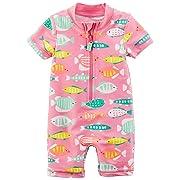 Carter's Baby Girls' Rashguard, Pink Fish, 6M