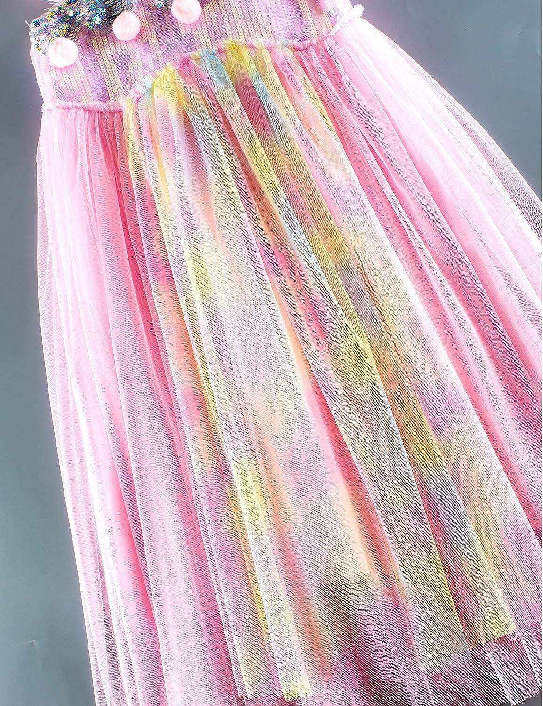 Girls Rainbow Unicorn Costume Birthday Princess Dress Pageant Party Tutu Dresses with Headband
