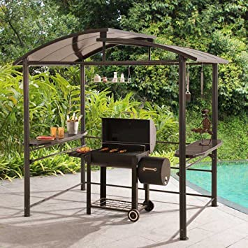 8 x 5 Denver Steel Hardtop Grill Gazebo with Polycarbonate Roof : grill canopies - memphite.com