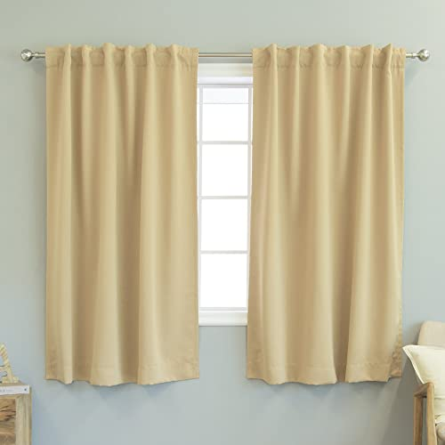 Best Home Fashion Thermal Insulated Blackout Curtains – Back Tab Rod Pocket – Wheat – 52 W x 63 L Tie Backs Included Set of 2 Panels
