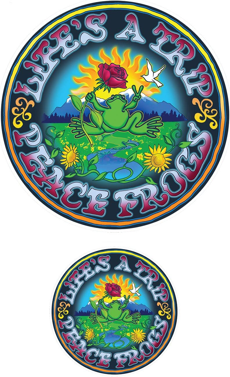 Enjoy It Peace Frogs Lifes a Trip Peace Frogs Car Sticker Laptops or Crafts Outdoor Rated Vinyl Sticker Decal for Windows Bumpers