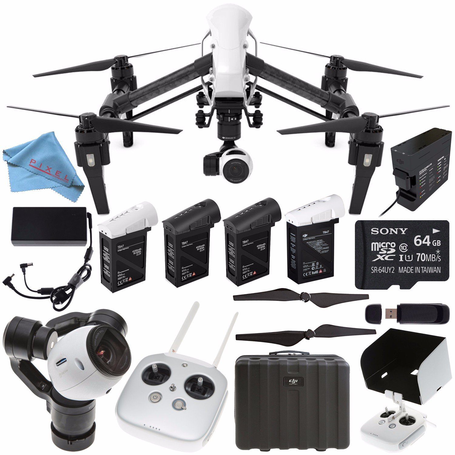 DJI Inspire 1 v2.0 Quadcopter with 4K Camera and 3-Axis Gimbal (Certified Refurbished) + Remote Controller Monitor Hood + Intelligent Flight Battery + 64GB microSDXC Bundle