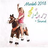Ponycycle - cheval à roulettes marron Moyen avec du son