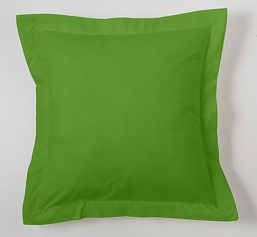 ESTELA - Funda de cojín Combi Lisos Color Verde - Medidas 55x55+5 cm. - 50% Algodón-50% Poliéster - 144 Hilos - Acabado en pestaña