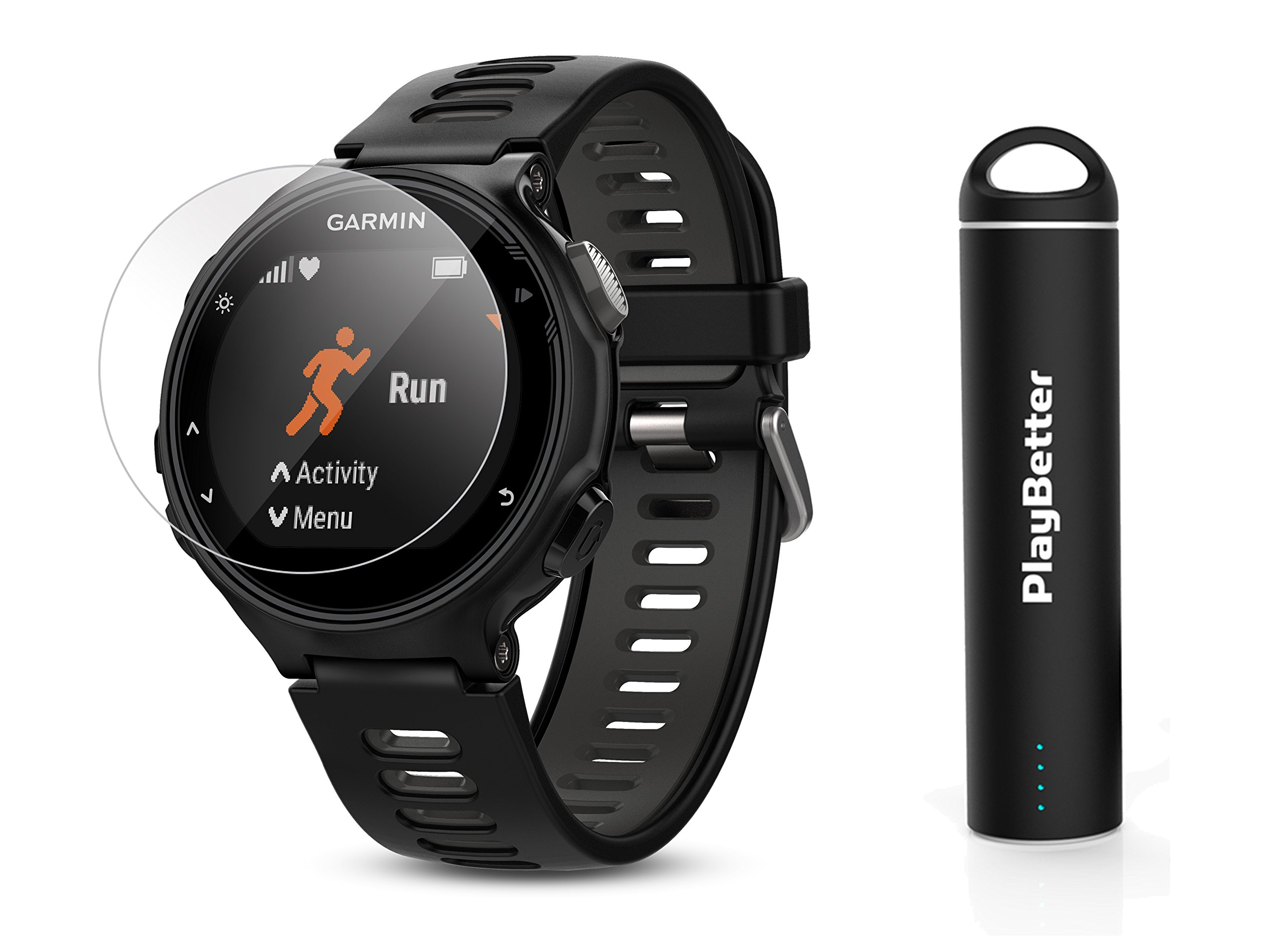 Garmin Forerunner 735XT (Black/Gray) Power Bundle | Includes HD Glass Screen Protectors (x2) & PlayBetter Portable Charger | Multisport GPS Training Watch by PlayBetter (Image #1)