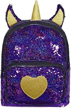 Sequin Toddler Backpack 3D Cute Unicorn Backpack Glitter Preschool Bag for Kids Boys Girls Kindergarten Travel