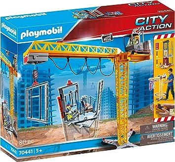 PLAYMOBIL- City Action Grúa de Construcción con Mando a Distancia RC, A Partir de 5 Años, Multicolor (70441)