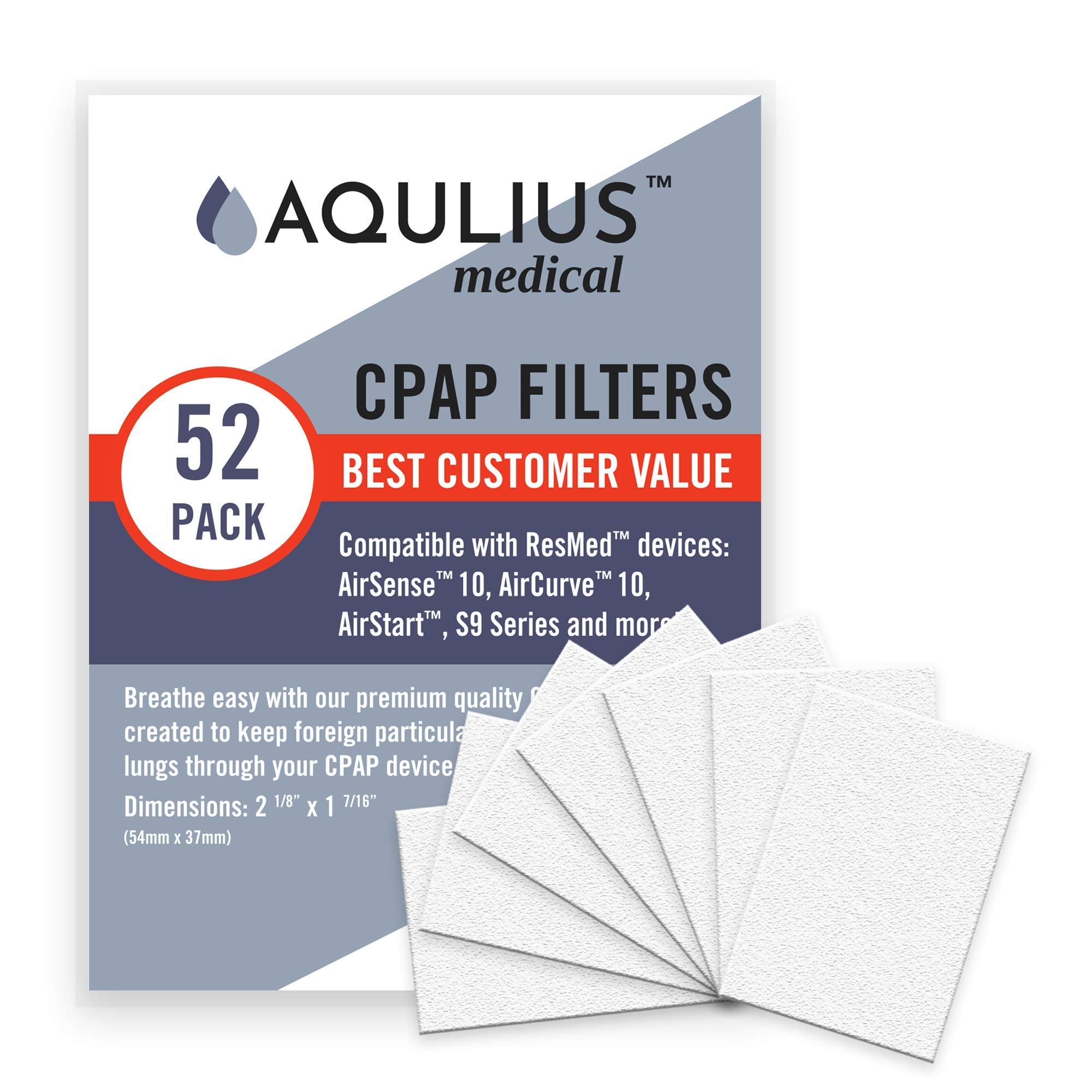 Disposable CPAP Filters (52 Pack - ONE Year Supply) - Fits All ResMed Air 10, Airsense 10, Aircurve 10, S9 Series, Airstart and More! by Aqulius