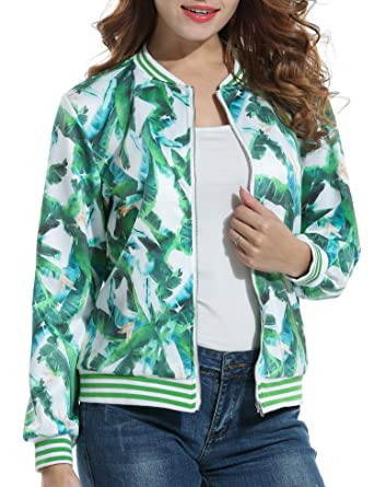 4d8ff2080ac ACEVOG Women s Long Sleeve Round Neck Zipper Quilted Casual Short Bomber  Jacket Coat (Green S