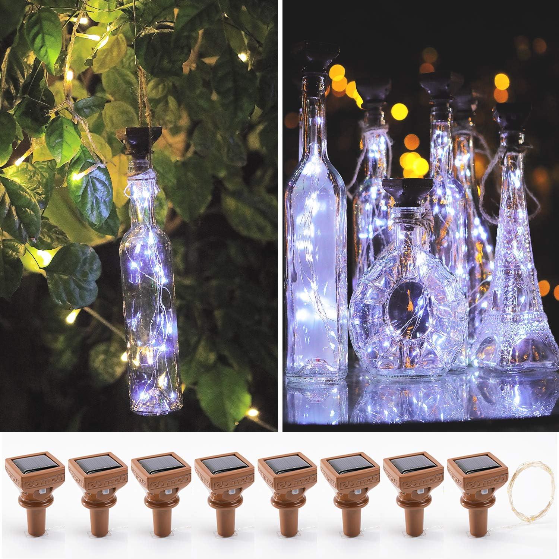 KZOBYD 8 Pack Solar Powered Wine Bottle Lights 20 LED Waterproof Bottle Lights Fairy Cork String Craft Lights for Wine Bottles Garden Patio Outdoor Tabletop Decor (White)