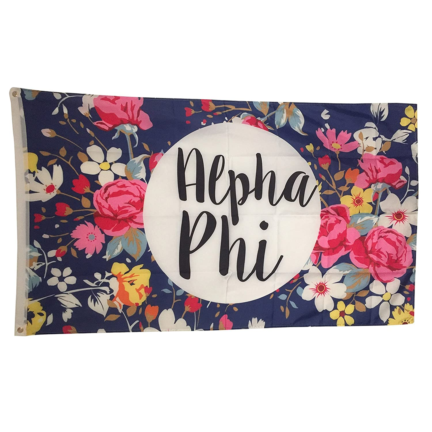 Alpha Phi Floral Pattern Sorority Flag Greek Use as a Banner Large 3 x 5 Feet A Phi