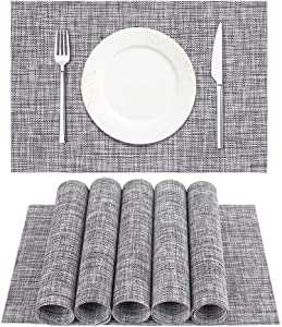 DACHUI Placemat, Crossweave Woven Vinyl Non-Slip Insulation Placemat Washable Table Mats Set of 6 (Grey)