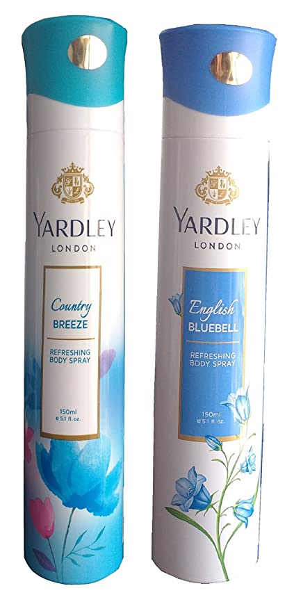 Desodorantes Yardley Country Breeze y Bluebell inglés, compuesto de 2, 150 ml. Cada