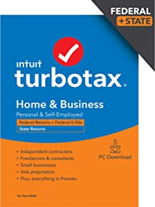 TurboTax Home & Business 2020 Desktop Tax Software, Federal and State Returns + Federal E-file (State E-file Additional) [Amazon Exclusive] [PC Download]