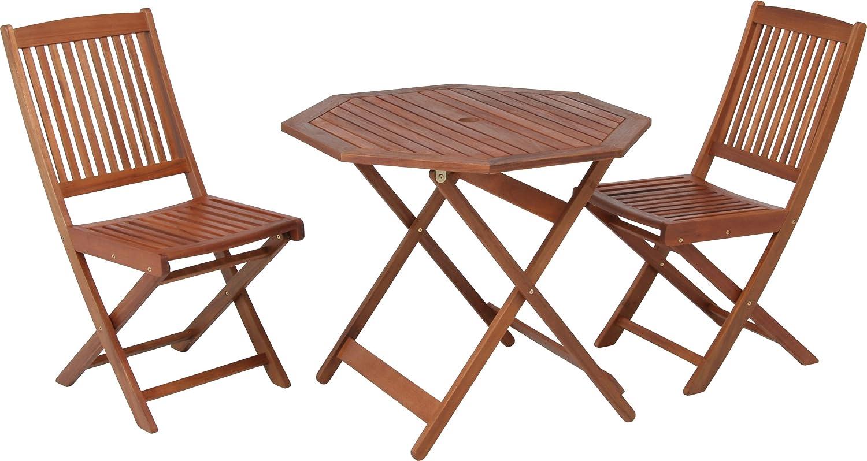 木製 ガーデン テーブルとチェア 3点 セット 90cm 81061-81058x2 B00BEB6VBQ