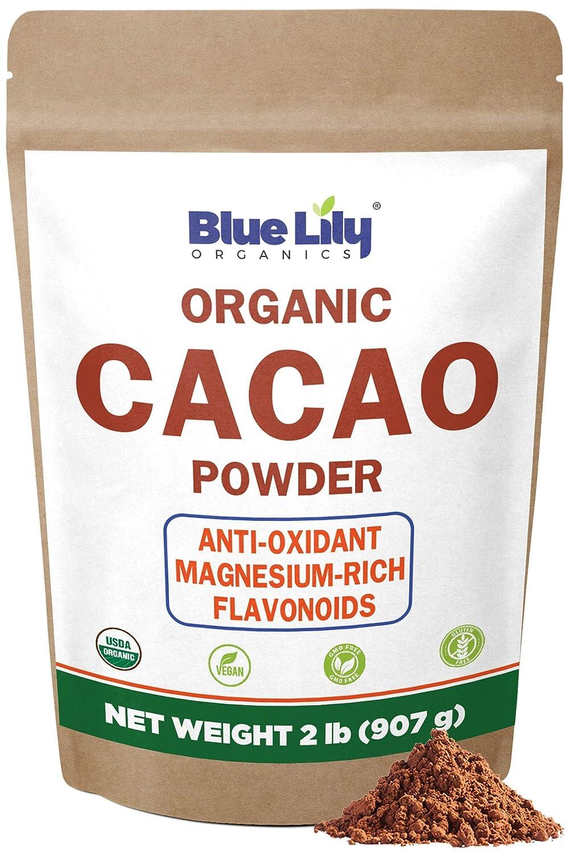Blue Lily Organics Cacao Powder (2lb) - Cocoa Chocolate Substitute - Raw, Organic Cacao Powder from Superior Criollo - Vegan, Sugar Free, Gluten Free, Non GMO, Non Dutched