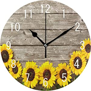 ALAZA Home Decor Sunflower on Retro Wooden 9.5 inch Round Acrylic Wall Clock Non Ticking Silent Clock Art for Living Room Kitchen Bedroom
