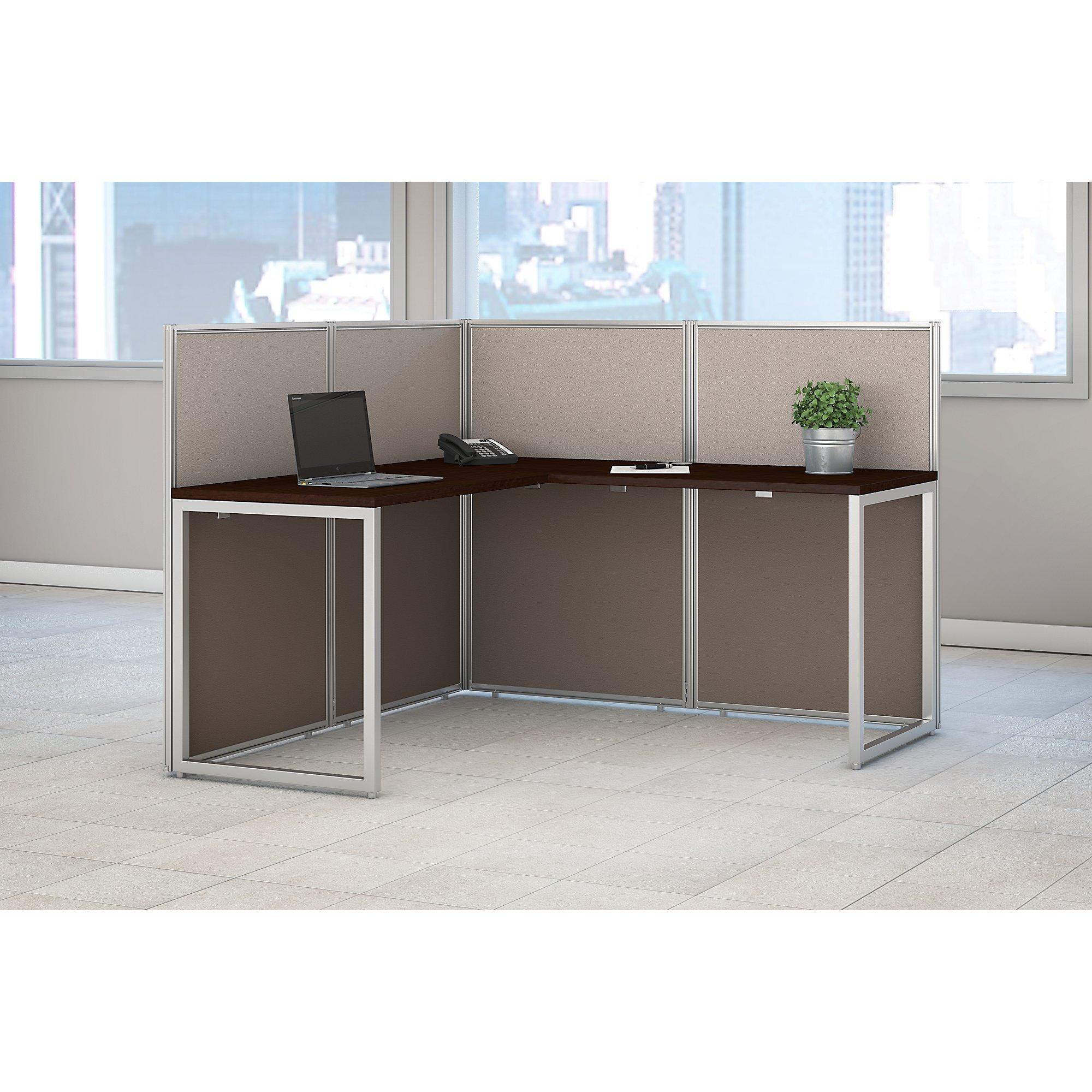 Bush Business Furniture Easy Office 60W L Shaped Desk Open Office in Mocha Cherry by Bush Business Furniture (Image #2)