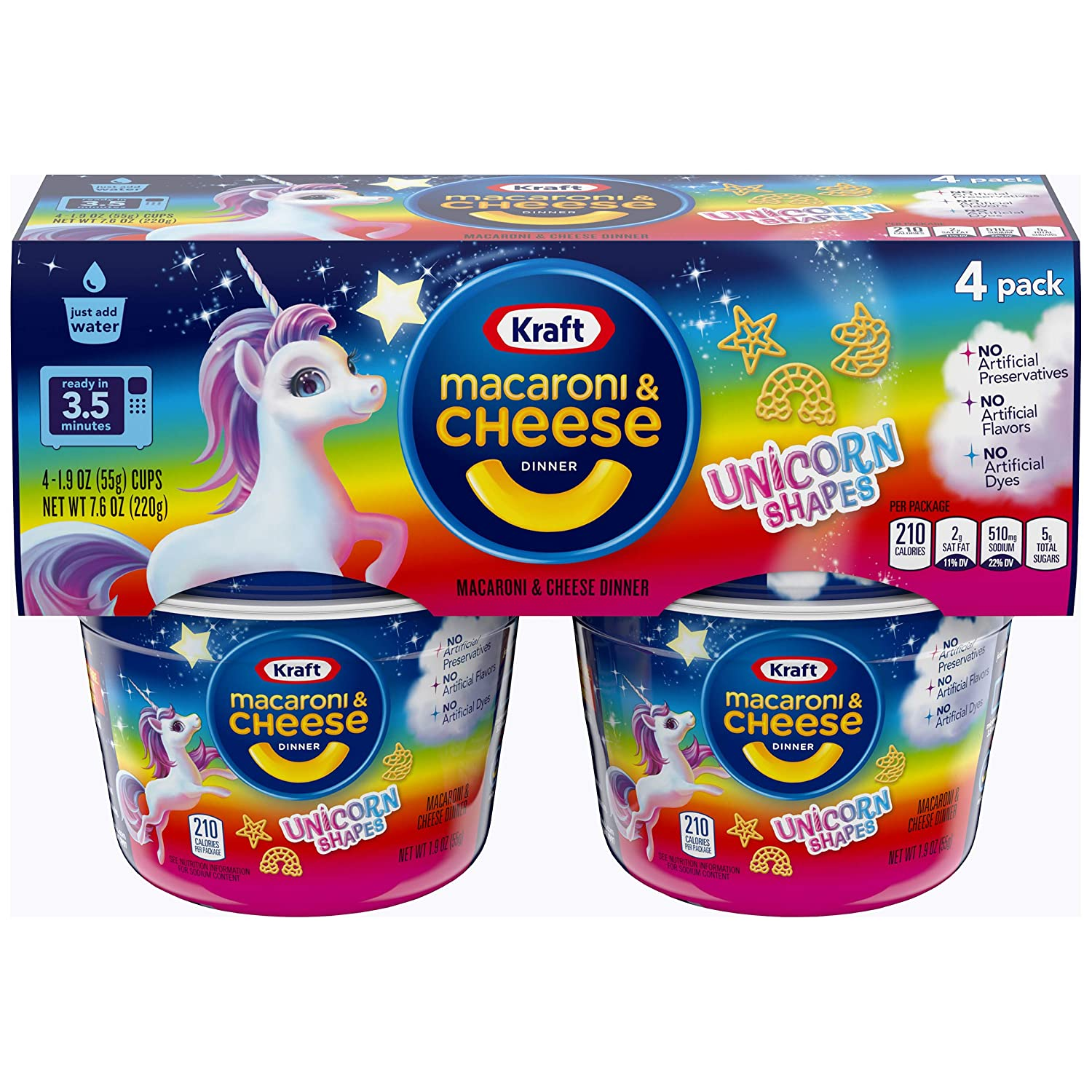 Kraft Easy Mac Unicorn Shapes Macaroni and Cheese , 4 ct - 7.6 oz Package