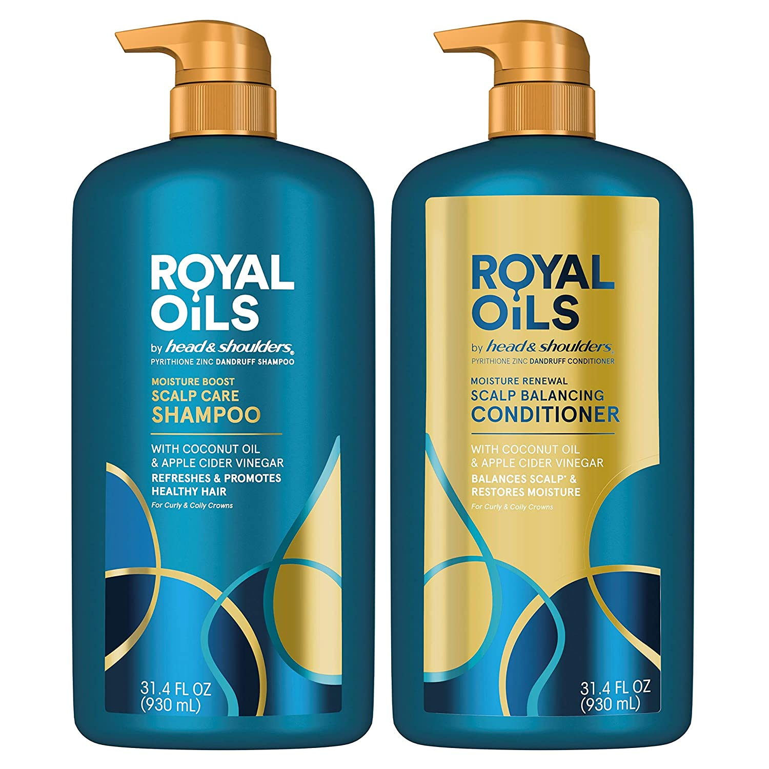 Head & Shoulders Royal Oils Dandruff Shampoo & Conditioner Set with Coconut Oil and Apple Cider Vinegar, Curly Hair Products, 31.4 Oz Each