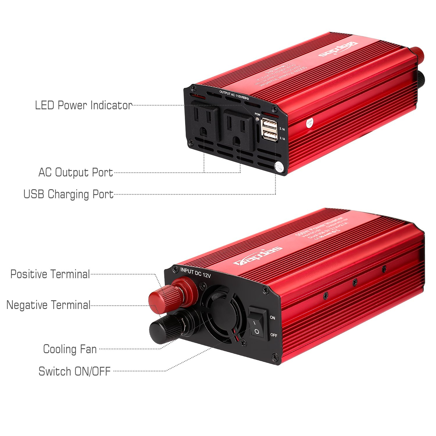 Bapdas 500W Power Inverter Converter DC 12V to AC 110V Car Charger with 4.2A 2 USB Ports Car Power Adapter-Red by Bapdas (Image #1)