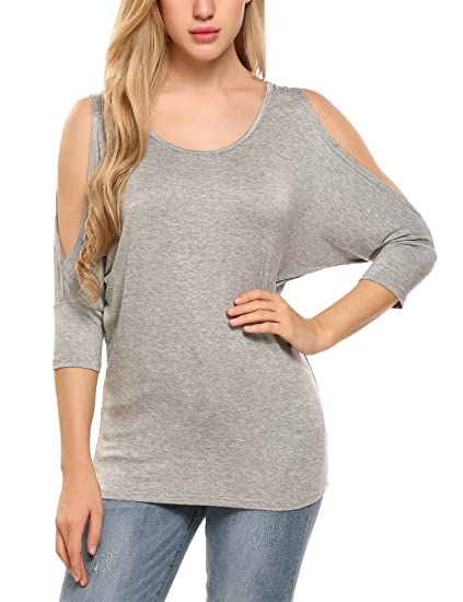 8873146ed7574 Image Unavailable. Image not available for. Color  Zeagoo Women s Short  Sleeve Off Open Shoulder Striped Shiring Boat Neck Top T-Shirt Blouse