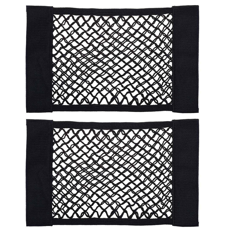 2 Pack Kbnian Trunk Storage Net,Car Trunk Back Seat Organizer Black Mesh Wall Sticker Organizer Pouch Bag