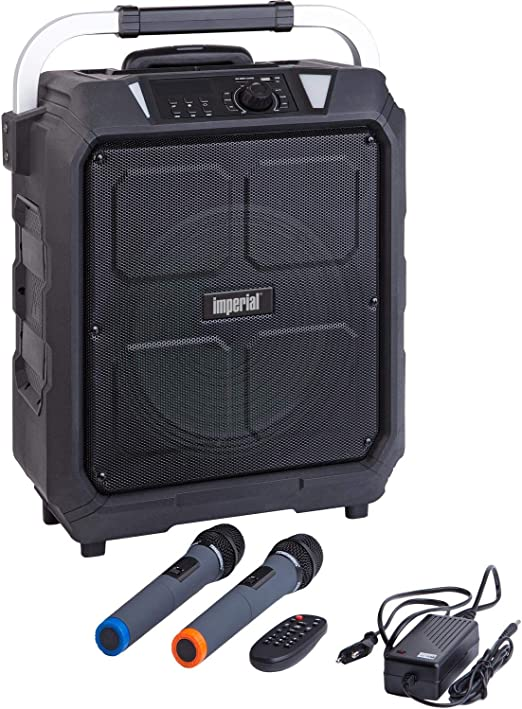 Imperial Beatsman 100 Mobile Bluetooth Pa Sound Anlage 100 Watt Leistung Akku Bluetooth Ukw Radio 2x Funk Mikrofon Usb Sd Kartenleser Gitarreneingang Schwarz Audio Hifi