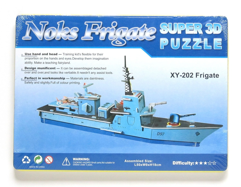 3D Jigsaw Super Puzzle Anatomy Model Blue XY-202 Frigate Escort Cruiser Ship Battleship Military Paper Card Blocks Building Boat Kit Toys Birthday Christmas Gift for Kids Adults Cut Assemble 35PCS