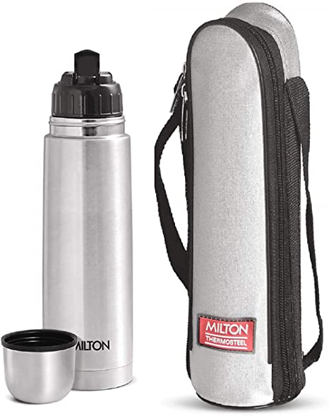 Milton Thermosteel Flip Lid Hot and Cold Flask, 500 ml, Silver with Bag Cream   Milk Jugs