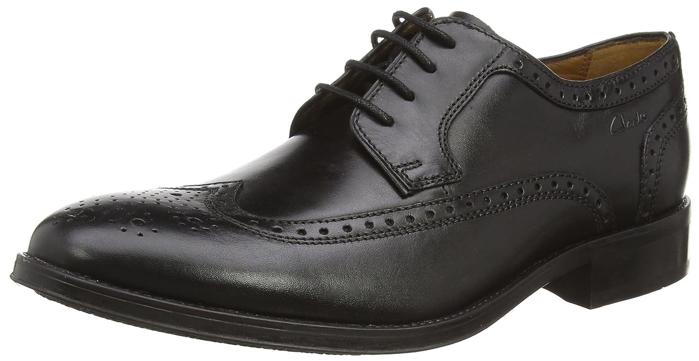 Clarks Kolby Limit, Chaussures de Ville à Lacets pour Homme Noir Cuir Noirci 44.5