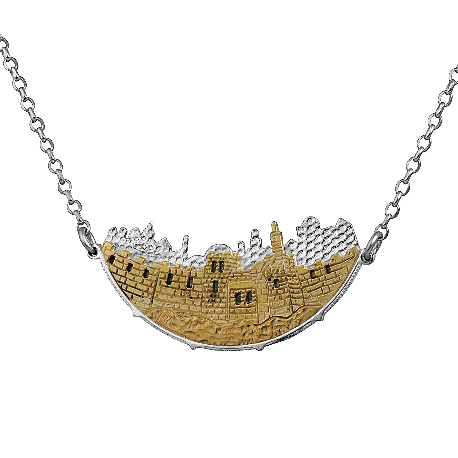 Amazon com: 925 Sterling Silver And Gold Jerusalem Skyline and
