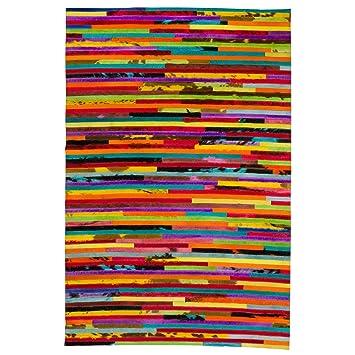 Patchwork Leder Kuhfell Teppich Bunt Gestreift 140 X 200 Cm